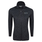 Black Heather Ladies Fleece Jacket-Official Mark