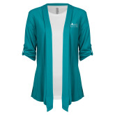 Ladies Teal Drape Front Cardigan-Official Mark