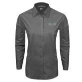 Ladies Grey Tonal Pattern Long Sleeve Shirt-Official Mark