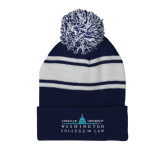 Navy/White Two Tone Knit Pom Beanie with Cuff-Official Mark