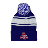 Royal/White Two Tone Knit Pom Beanie with Cuff-Primary Mark