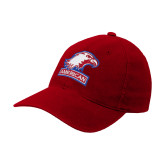 Red OttoFlex Unstructured Low Profile Hat-Eagle Head