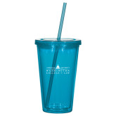 Madison Double Wall Turquoise Tumbler w/Straw 16oz-Official Mark