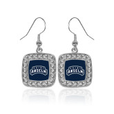 Crystal Studded Square Pendant Silver Dangle Earrings-Saint Anselm Mark