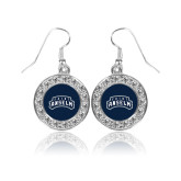 Crystal Studded Round Pendant Silver Dangle Earrings-Saint Anselm Mark