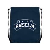 Navy Drawstring Backpack-Saint Anselm Mark