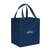 Non Woven Navy Grocery Tote-Saint Anselm Mark