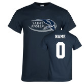Navy T Shirt-Athletic Mark Hawk Head, Custom Tee w/ Name and #