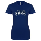 Next Level Ladies SoftStyle Junior Fitted Navy Tee-Saint Anselm Mark