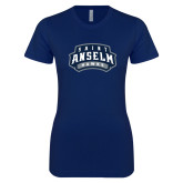 Next Level Ladies SoftStyle Junior Fitted Navy Tee-Saint Anselm Hawks Mark