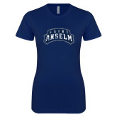 Next Level Ladies SoftStyle Junior Fitted Navy Tee-Saint Anselm Mark Distressed