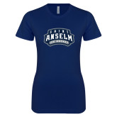 Next Level Ladies SoftStyle Junior Fitted Navy Tee-Ice Hockey