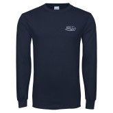 Navy Long Sleeve T Shirt-Athletic Mark Hawk Head