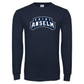 Navy Long Sleeve T Shirt-Saint Anselm Mark