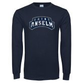Navy Long Sleeve T Shirt-Saint Anselm Mark Distressed