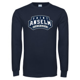 Navy Long Sleeve T Shirt-College Wordmark Stacked