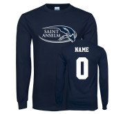 Navy Long Sleeve T Shirt-Athletic Mark Hawk Head, Custom Tee w/ Name and #