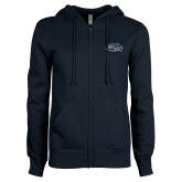 ENZA Ladies Navy Fleece Full Zip Hoodie-Athletic Mark Hawk Head