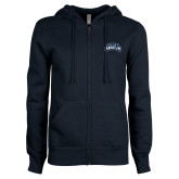 ENZA Ladies Navy Fleece Full Zip Hoodie-Saint Anselm Mark