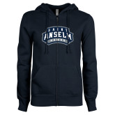 ENZA Ladies Navy Fleece Full Zip Hoodie-Saint Anselm Hawks Mark