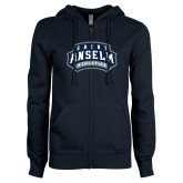 ENZA Ladies Navy Fleece Full Zip Hoodie-College Wordmark Stacked