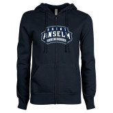 ENZA Ladies Navy Fleece Full Zip Hoodie-Ice Hockey