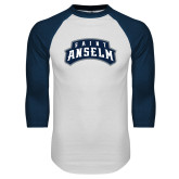 White/Navy Raglan Baseball T Shirt-Saint Anselm Mark