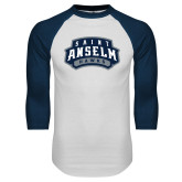 White/Navy Raglan Baseball T Shirt-Saint Anselm Hawks Mark