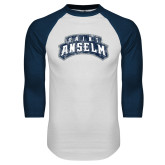 White/Navy Raglan Baseball T Shirt-Saint Anselm Mark Distressed