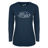 Ladies Syntrel Performance Navy Longsleeve Shirt-Athletic Mark Hawk Head