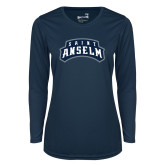 Ladies Syntrel Performance Navy Longsleeve Shirt-Saint Anselm Mark