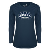 Ladies Syntrel Performance Navy Longsleeve Shirt-Saint Anselm Hawks Mark