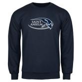 Navy Fleece Crew-Athletic Mark Hawk Head