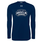 Under Armour Navy Long Sleeve Tech Tee-Saint Anselm Hawks Mark
