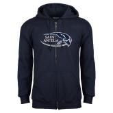 Navy Fleece Full Zip Hoodie-Athletic Mark Hawk Head