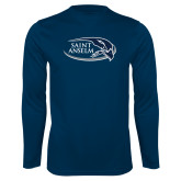Performance Navy Longsleeve Shirt-Athletic Mark Hawk Head