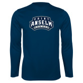 Performance Navy Longsleeve Shirt-Saint Anselm Hawks Mark
