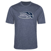 Performance Navy Heather Contender Tee-Athletic Mark Hawk Head