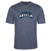 Performance Navy Heather Contender Tee-Saint Anselm Mark