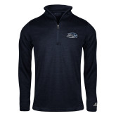 Russell Navy Heather 1/4 Zip-Athletic Mark Hawk Head