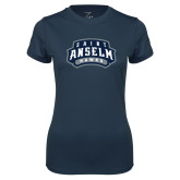 Ladies Syntrel Performance Navy Tee-Saint Anselm Hawks Mark