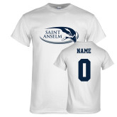White T Shirt-Athletic Mark Hawk Head, Custom Tee w/ Name and #