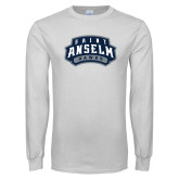 White Long Sleeve T Shirt-Saint Anselm Hawks Mark