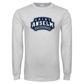 White Long Sleeve T Shirt-College Wordmark Stacked