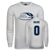 White Long Sleeve T Shirt-Athletic Mark Hawk Head, Custom Tee w/ Name and #