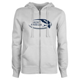 ENZA Ladies White Fleece Full Zip Hoodie-Athletic Mark Hawk Head