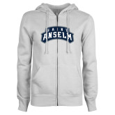 ENZA Ladies White Fleece Full Zip Hoodie-Saint Anselm Mark