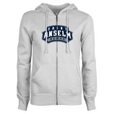 ENZA Ladies White Fleece Full Zip Hoodie-Saint Anselm Hawks Mark