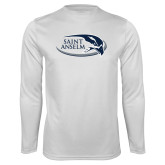 Performance White Longsleeve Shirt-Athletic Mark Hawk Head