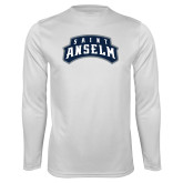 Performance White Longsleeve Shirt-Saint Anselm Mark